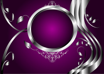 A silver and purple floral design