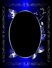 A silver and blue  floral background template design