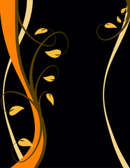 An abstract orange illustration with a floral design