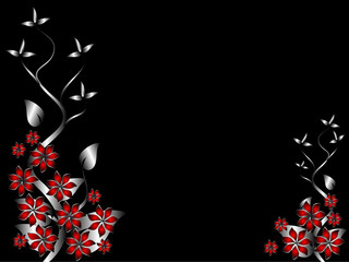 A silver and red  floral background template