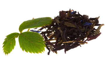 Tea with strawberry leaf