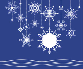 snowflake frame, vector illustration