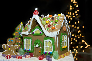 A gingerbread house at Christmas