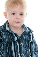 Portrait of a blond little boy with hazel eyes