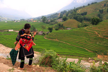 Sapa hill tribe woman and baby