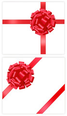 Two gift red bows with a ribbons. Vector.