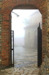 Entrance to foggy town