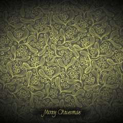 Christmas background, mistletoe pattern