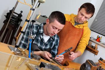 goldsmith in workshop
