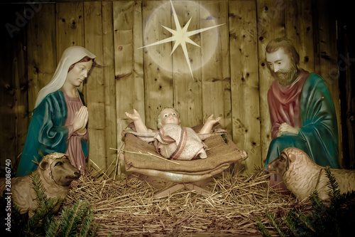 Simple Manger during the Christmas night.