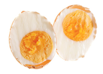 halved semihard boiled Egg in its shell. isolated