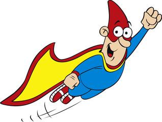 Vector illustration of cartoon geek hero character