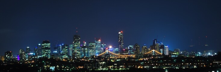 Brisbane City, Australia at Night With Storey Bridge