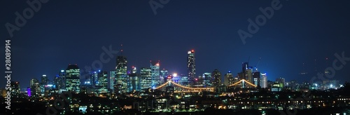 Brisbane City, Australia at Night With Storey Bridge
