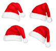Four red Santa hats. Vector. - 28090175