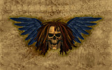 Winged Skull with Dreadlocks on Grunge