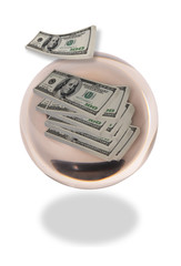 Crystal Ball with Money inside it.
