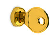 Isolated key and lock on white background. 3D image