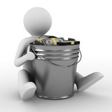 businessman with bucket of money. isolated 3D image