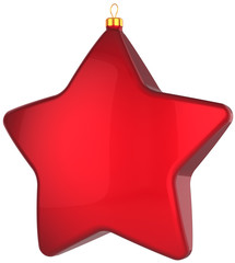 Christmas star shape bauble total red. Xmas decoration