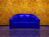 Blue couch in grunge interior