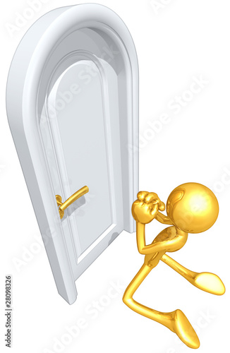 Gold Guy Begging To Be Let In At Closed Door
