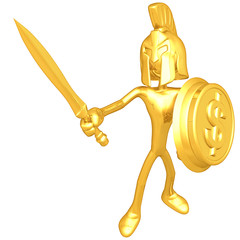 Gold Guy Spartan With Gold Coin Shield