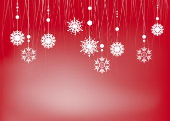 decorazione di natale con fiocchi di neve su fondo rosso