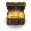 3d Treasure chest is full of gold