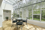 Sun room with ceiling windows