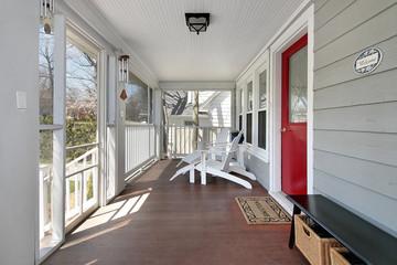 Porch with red door