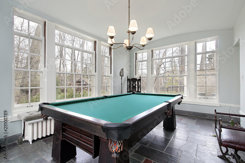 Pool table in sunroom