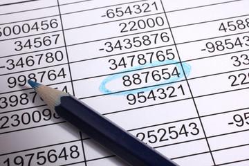contabilità - tabella con numero evidenziato