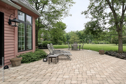 Brick patio with furniture