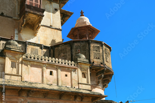 Detail of Raj Mahal in Orchha,  India