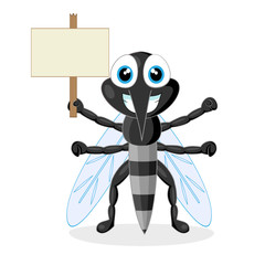 cute mosquito with wood sign