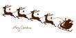 Christmas Sleigh Santa & 4 Flying Reindeers Brown