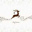 Flying Reindeer, Christmas Ball & Snowflakes Brown