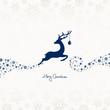Jumping Reindeer, Christmas Ball & Snowflakes Blue