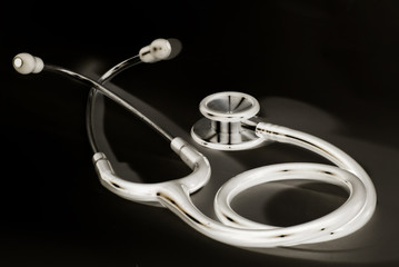 a medical stethoscope in x-ray like mode