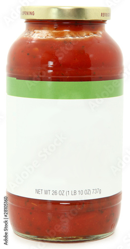 Blank Label Jar of Speghetti Sauce