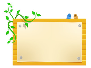 Vector cartoon billboard with little birds and greeen plants