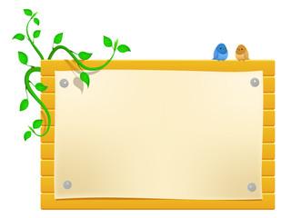 Vector cartoon billboard with little birds and greeen plants