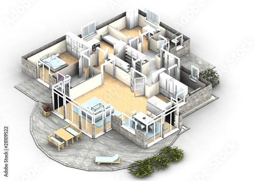 Moderne villa grundriss 3d  GamesAgeddon - 3d grundriss perspektive - Lizenzfreie Fotos ...