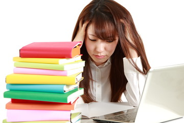 Tired female student