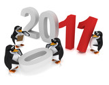 3d  Penguins New Years Eve party poster