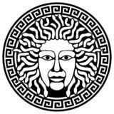 Illustration of Medusa Gorgon head  with snake hair. poster
