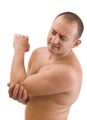 Man having pain in his elbow