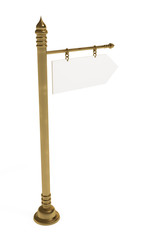 Blank board, golden signpost, isolated on white, clipping path