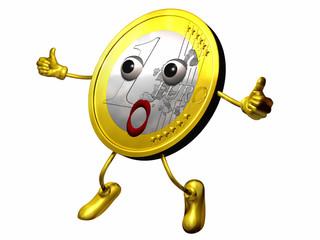 Euro Maskottchen zeigt alles super